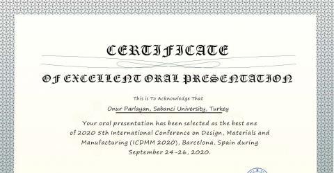 ME-EE Student Onur Parlayan's talk selected as best oral presentation