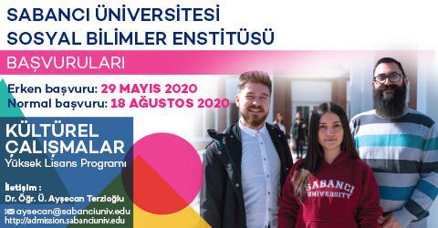 Kültürel Çalışmalar Y. Lisans Programı 2020-2021 Güz Dönemi Başvuruları