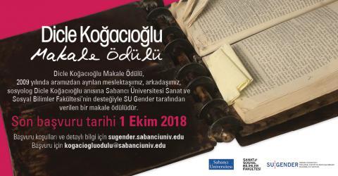 Dicle Koğacıoğlu Makale Ödülü 2018...