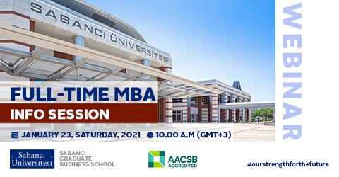 Full Time MBA Online Information Session on January 23, Saturday 2021