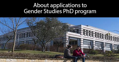 About applications to Gender Studies PhD Program