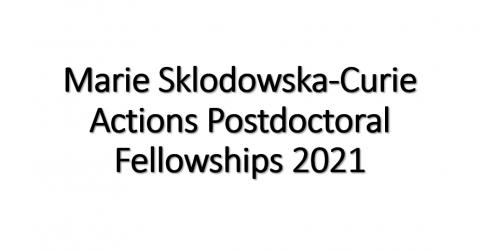 Marie Sklodowska-Curie Actions Postdoctoral Fellowships 2021