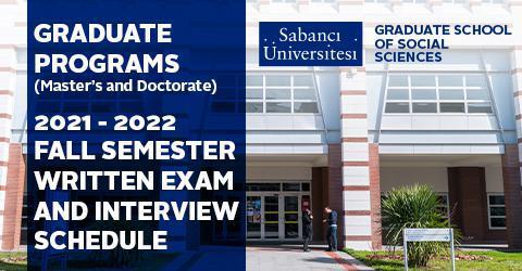 Graduate School of Social Sciences Written Exam and Interview Schedule
