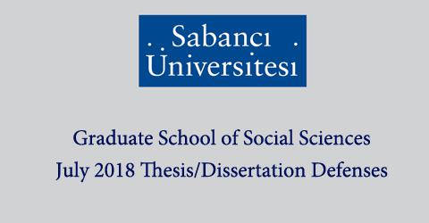 GSS Thesis & Dissertation Defenses (July 2018)