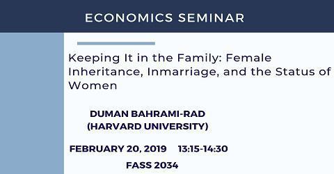 Economics Seminar: Duman Bahrami-Rad (Harvard University)