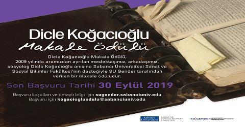 Dicle Koğacıoğlu Makale Ödülü 2019...