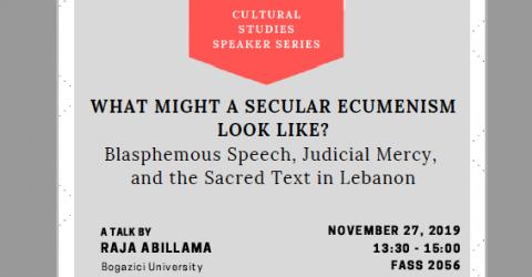 Cultural Studies Speaker Series - Raja Abillama - November 27, Wednesday