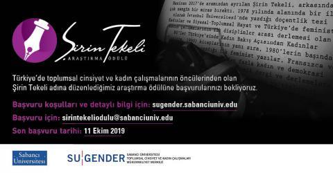 Şirin Tekeli Araştırma Ödülü 2019...