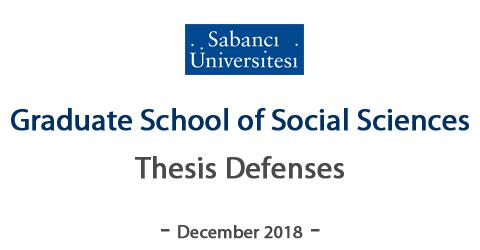 GSS- December 2018 M.A and Ph.D.Thesis/Dissertation Defense Dates